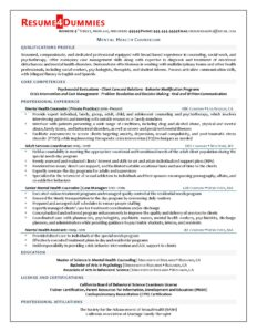 Mental health counselor resume sample from Resume4Dummies