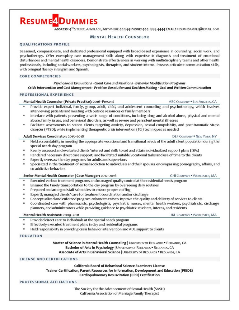 mental health counselor resume example  resume4dummies