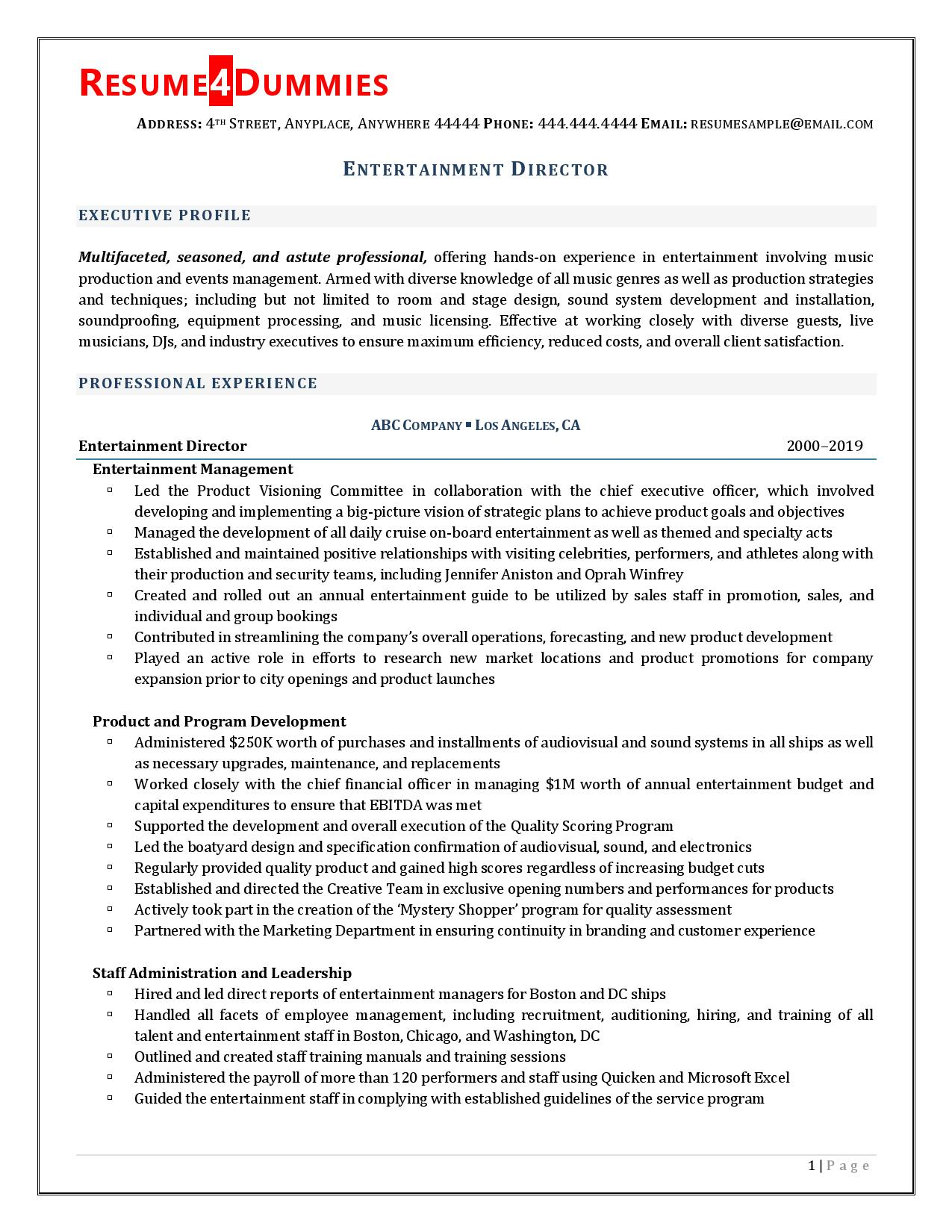 Page 1 of entertainment director resume examples