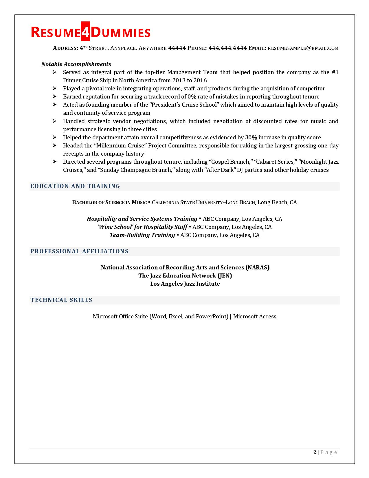 Page 2 of entertainment director resume examples