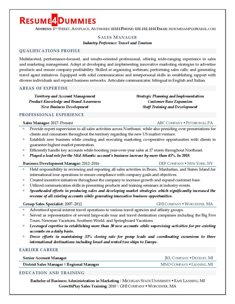 Sales manager resume examples from Resume4Dummies