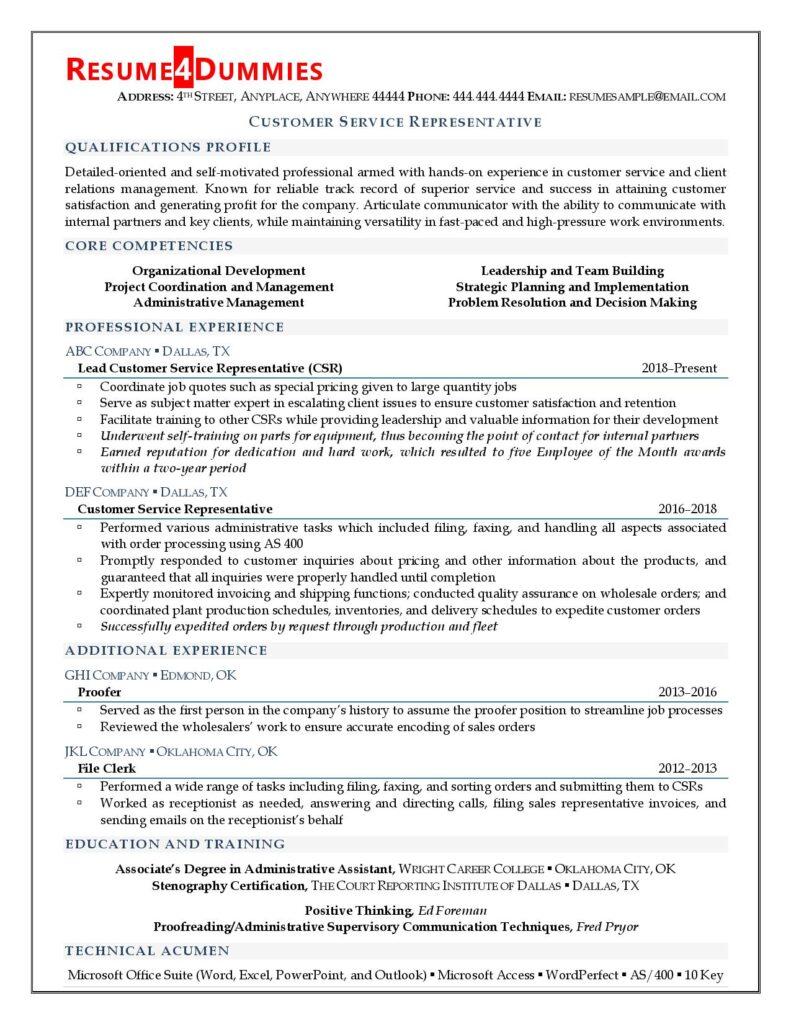 Resume4Dummies' customer service representative resume