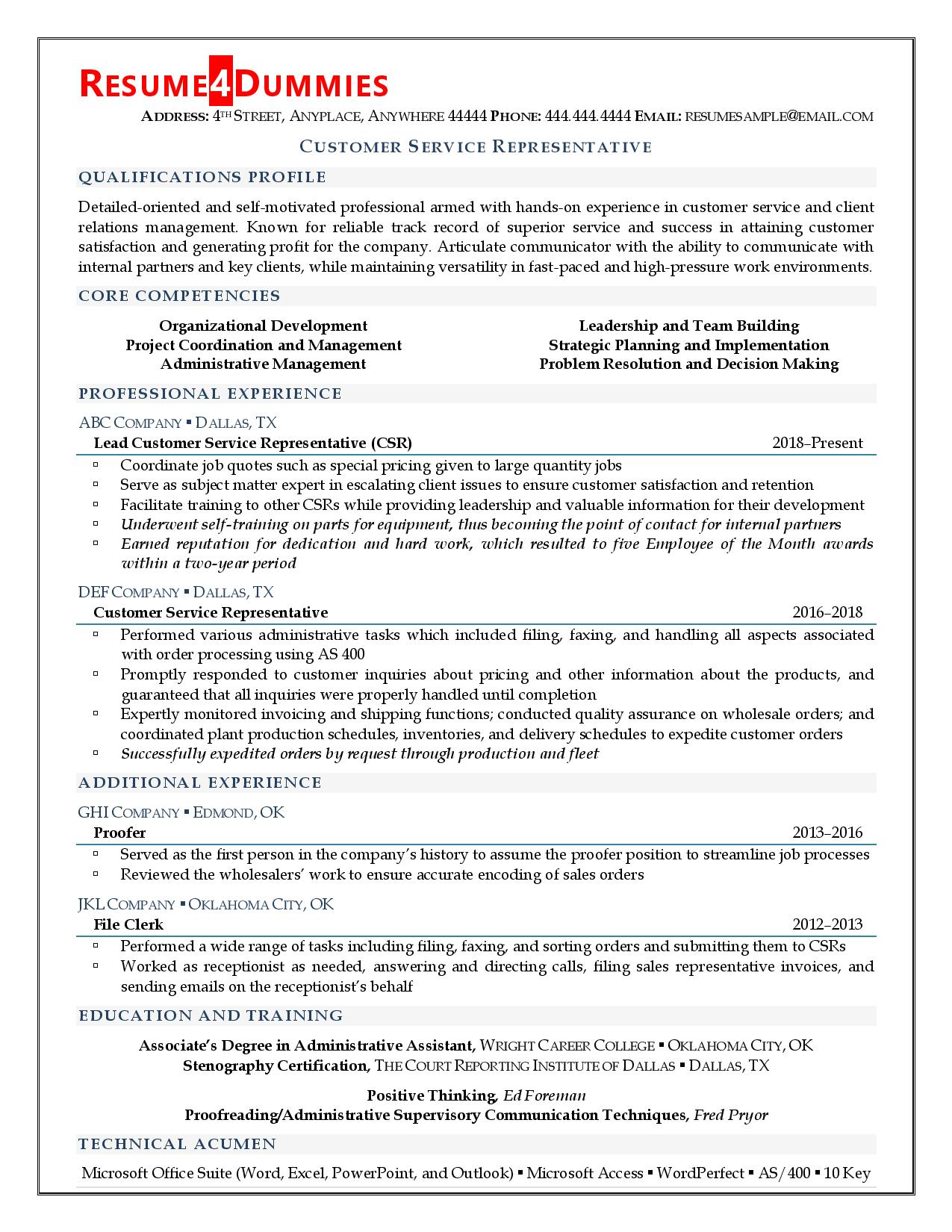 Customer Service Representative Resume Resume4dummies
