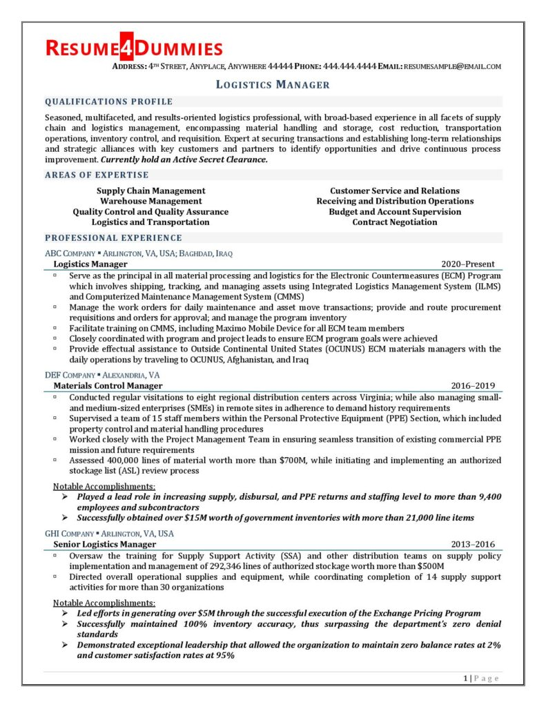 Page 1 of Logistics Manager Resume