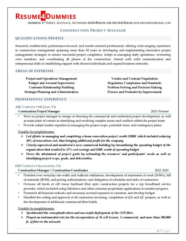Page 1 of construction project manager resume
