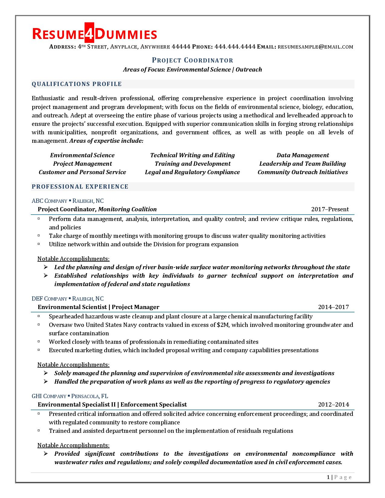 Project Coordinator Resume Example Page 1