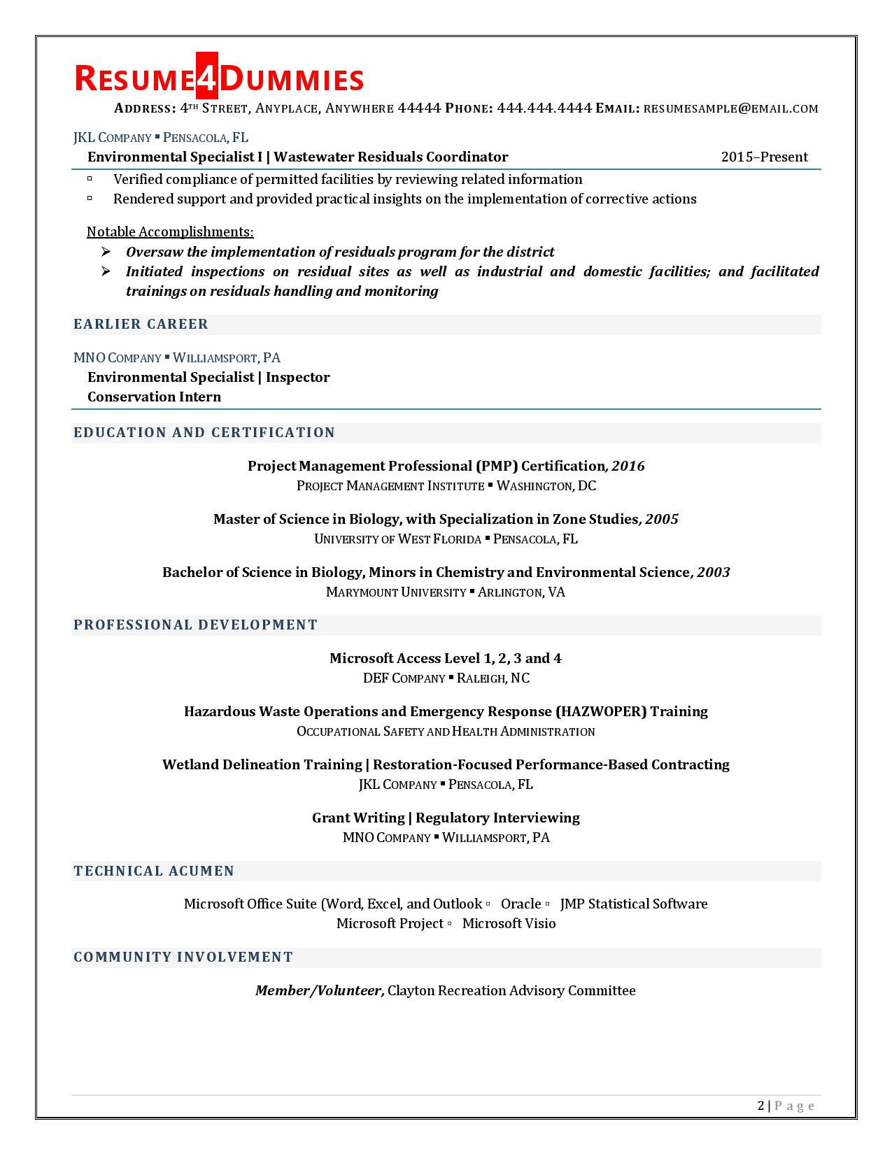 Project Coordinator Resume Example Page 2