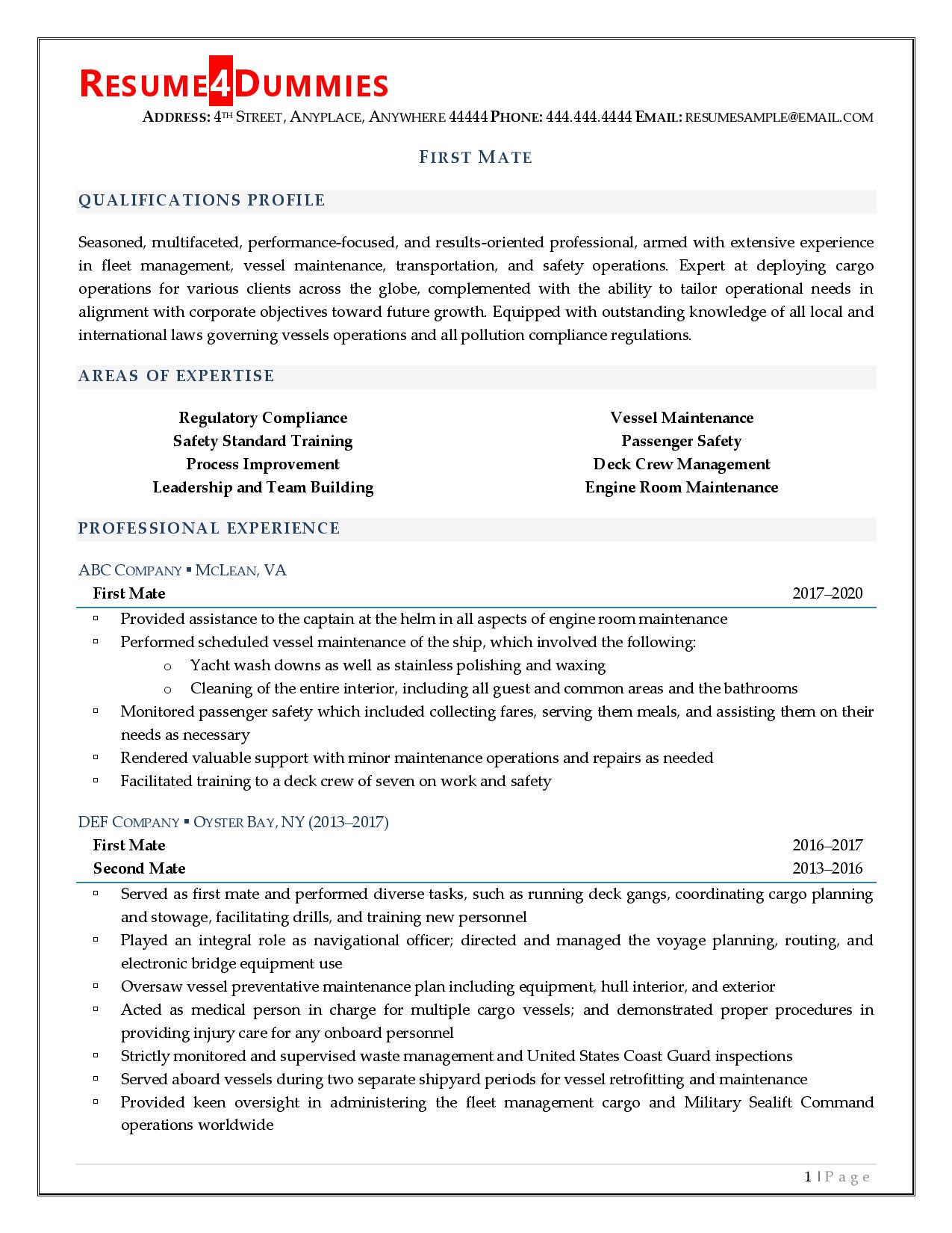 Page one of a first mate resume example