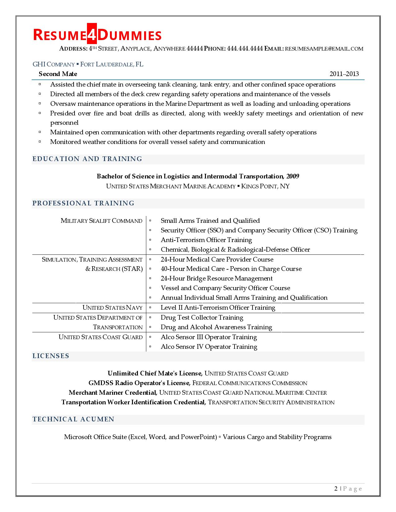 Page two of a first mate resume example