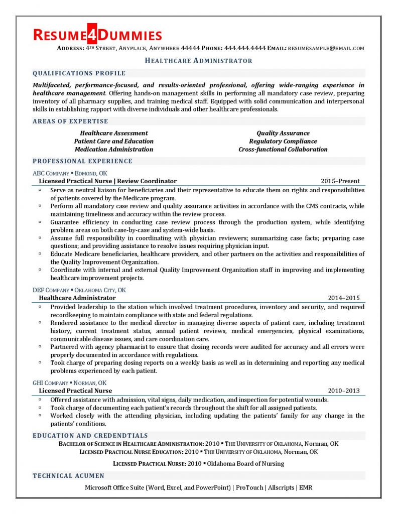 Resume sample for healthcare administrator