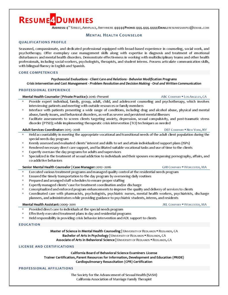 Resume sample for mental health counselor