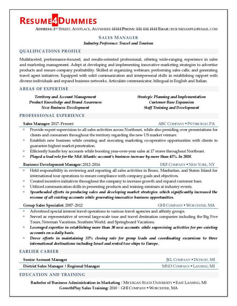 Resume sample for sales manager