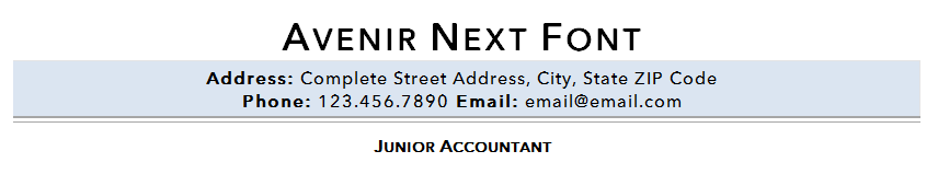 Avenir Next resume font