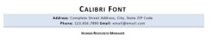 Calibri resume font