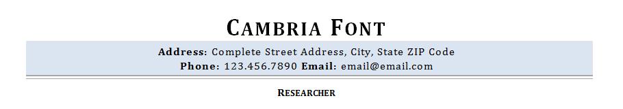 Cambria resume font