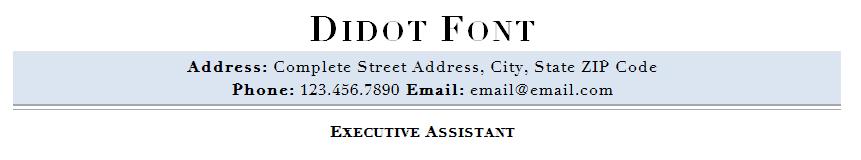 Didot resume font