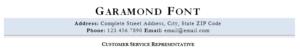 Garamond resume font