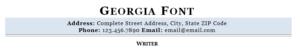 Georgia resume font