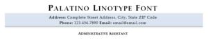 Palatino Linotype resume font