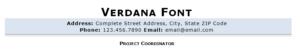 Verdana resume font