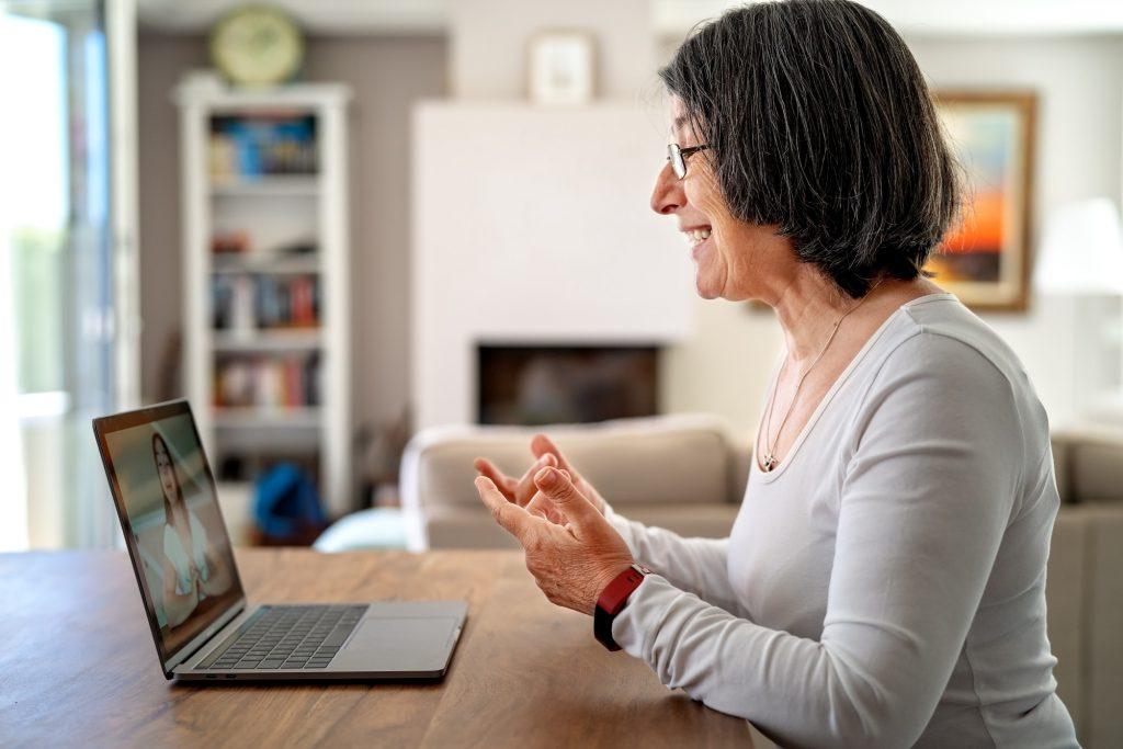 woman having video interview online