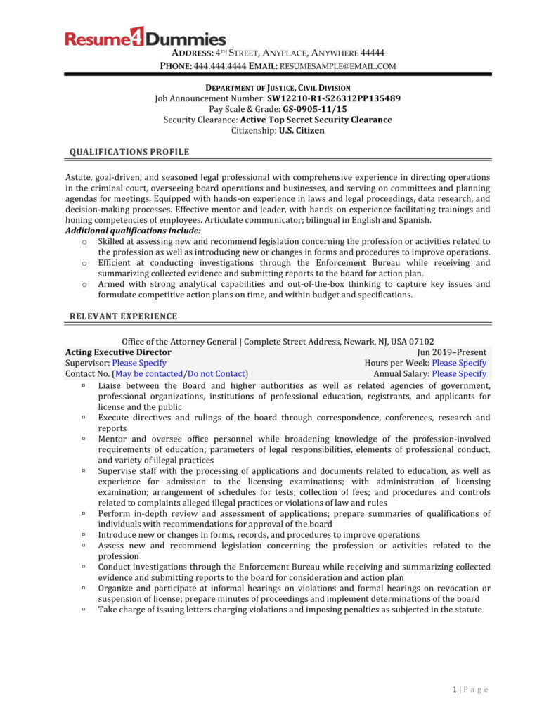 attorney federal job resume sample page 1
