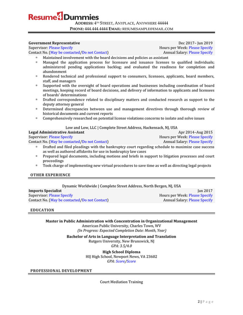 attorney federal job resume sample page 2