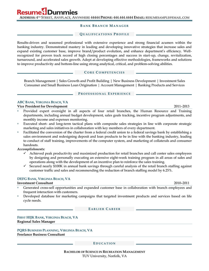 bank branch manager resume sample