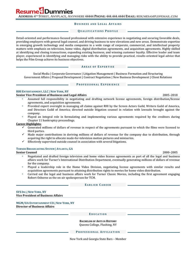sample business and legal affairs executive resume