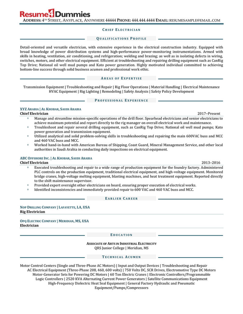 Chief electrician resume example