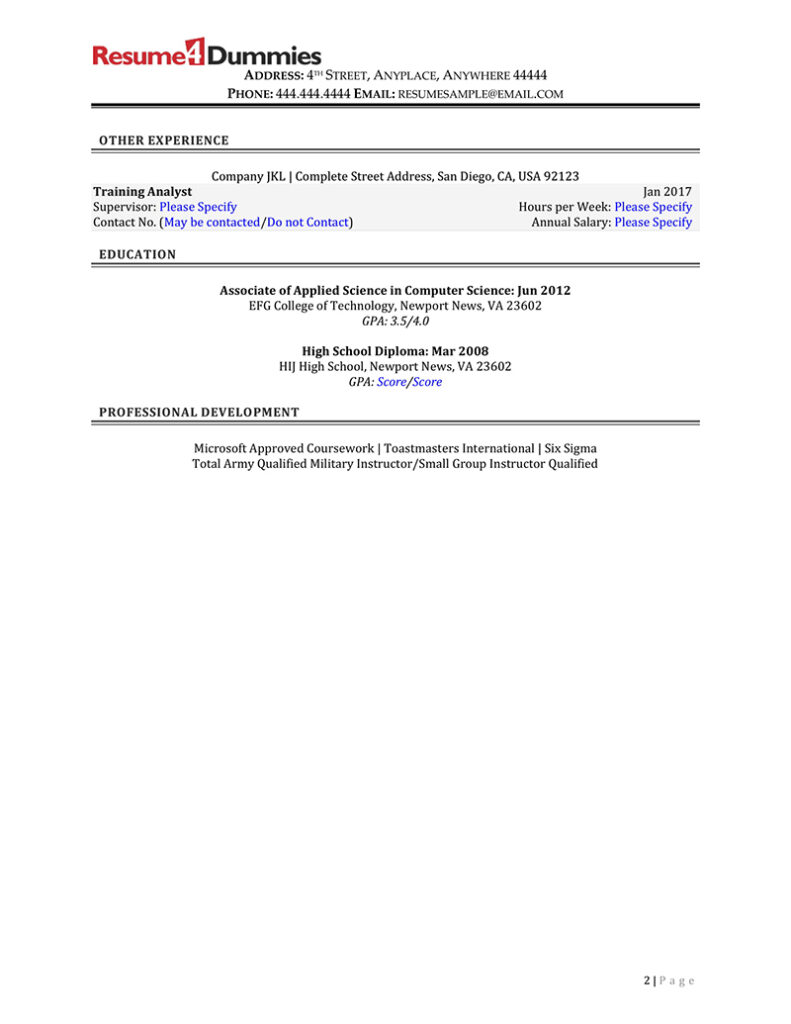 sample federal government IT specialist resume page 2