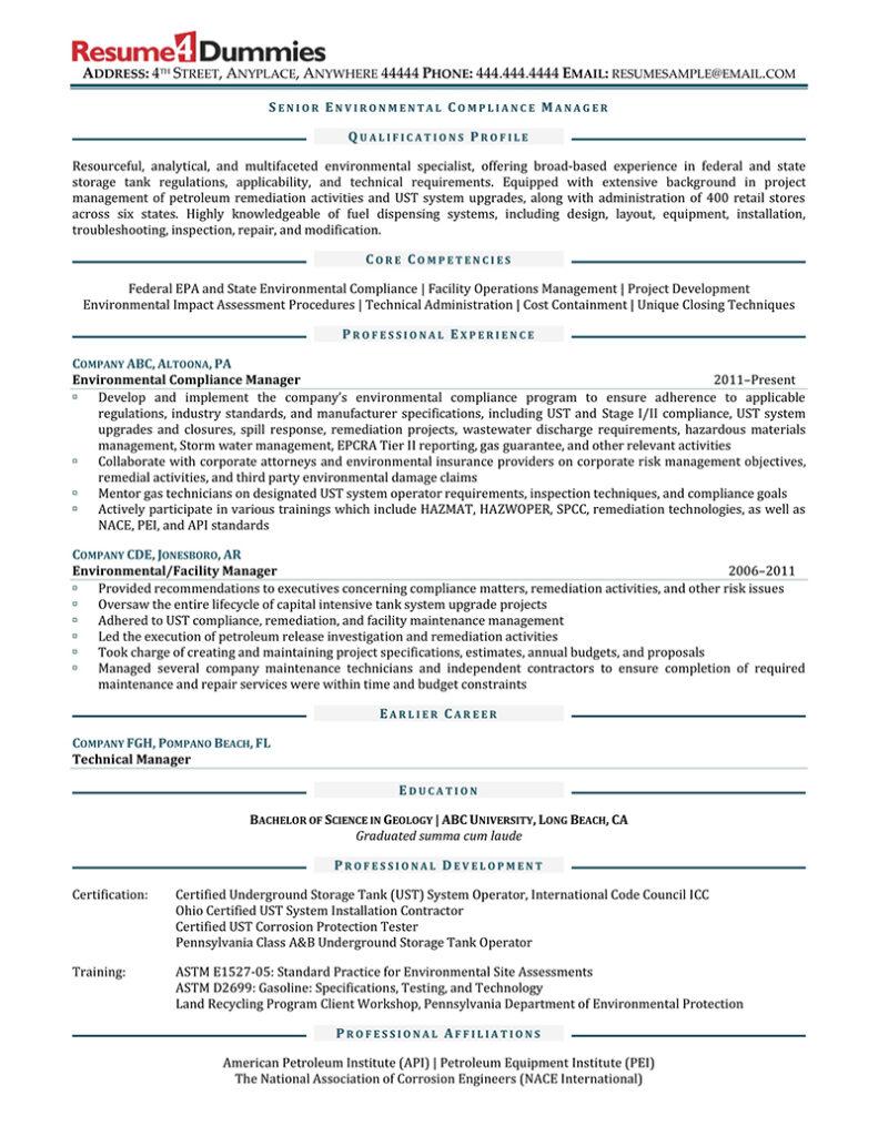 Senior environmental compliance manager resume sample