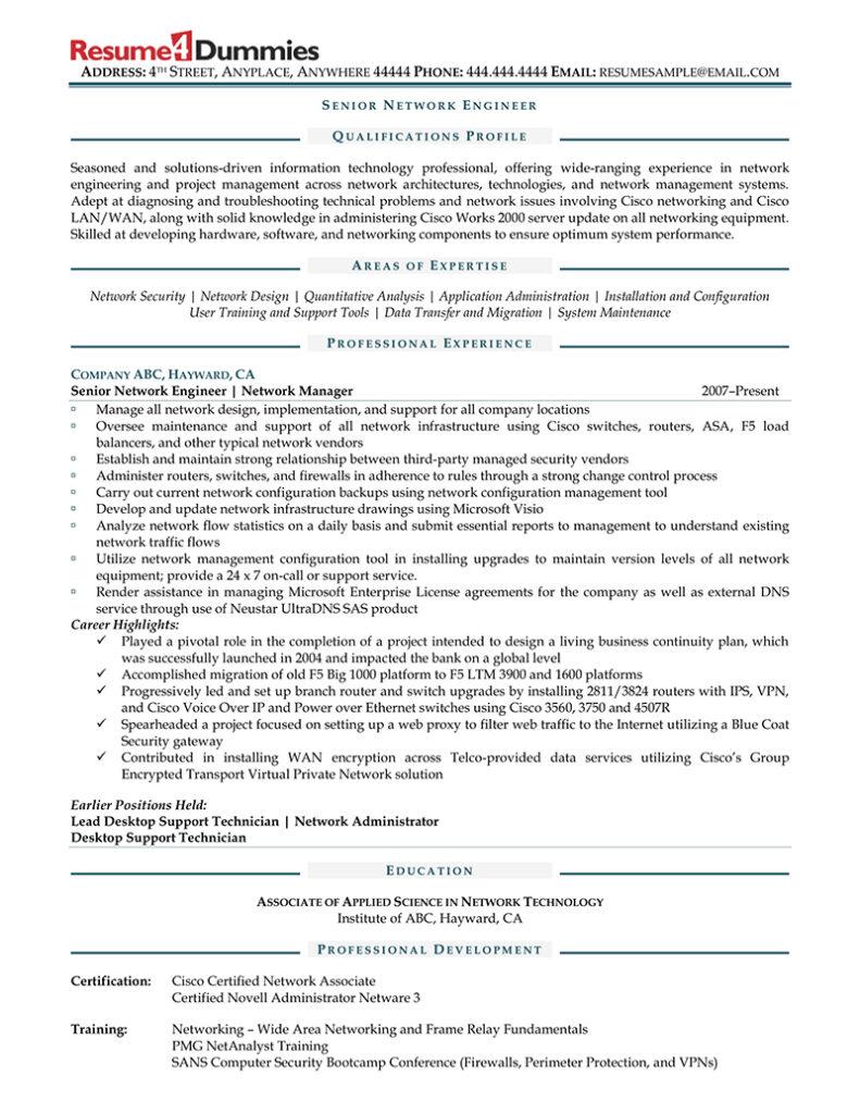 sample senior network engineer resume