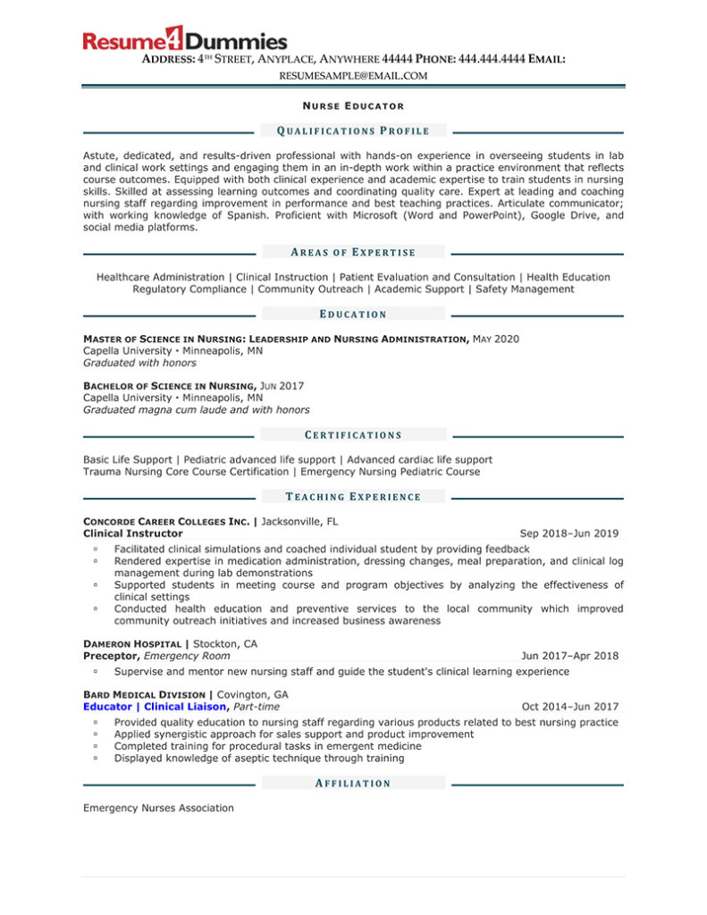 teacher resume example for those with work experience