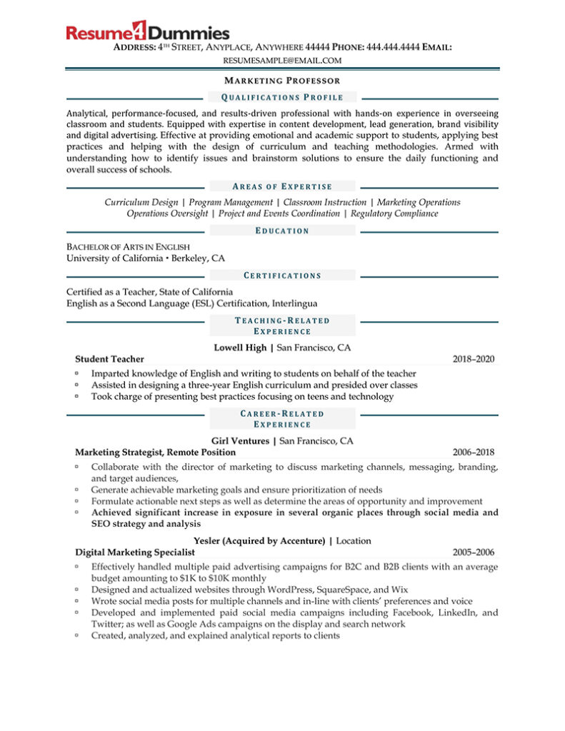 Sample resume for teachers with no experience